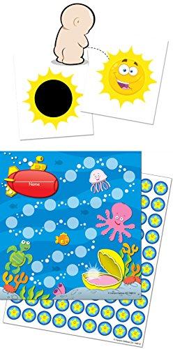 Toilettentraining leicht gemacht mit unserem Set bestehend aus einem verfärbenden Toilettensticker SONNE + 3 bunten Belohnungskarten und 90 Stickern mit Thema UNTERWASSERWELT