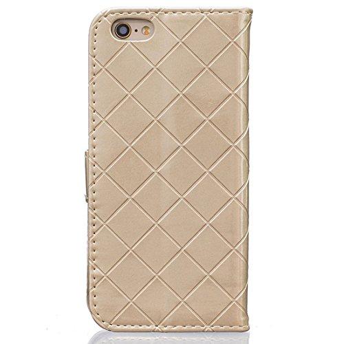 Apple iPhone 6 Plus / 6S Plus 5.5 inch Hülle, iPhone 6S Plus Cover, Metall Magnetisch Knopf Gitter Geprägter Slap-up Mode Brieftasche Schutzhülle Unterstützen Funktion Leder Folie Case gold