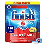 Finish All in 1 Max Pastiglie Lavastoviglie, Limone, 110 Tabs