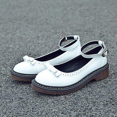 Confortevole ed elegante piatto scarpe donna appartamenti rientrano comfort informale in similpelle tacco piatto Bowknot fibbia / Nero / Giallo / Bianco a piedi White