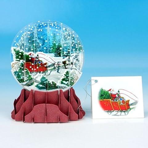 Pop Up Weihnachtskarte 3D Schneekugel Schlitten im Schnee 7x10 cm