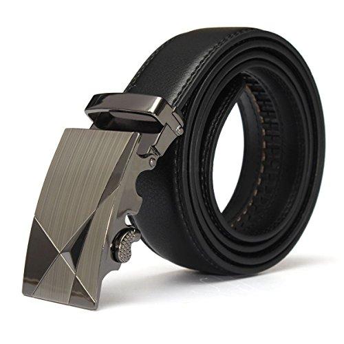 Hombre Cinturon - SODIAL(R)Lujo Negro Cuero Automatico Informal Hombre Pretina Correa de...
