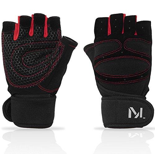 MOLE Trainingshandschuh - Herren & Damen Fitness Handschuhe für Krafttraining, Fahrrad/ Fitness/ Workout und Gym + GRATIS E-Book (Schwarz/Rot, (Monster Aufgenommen)