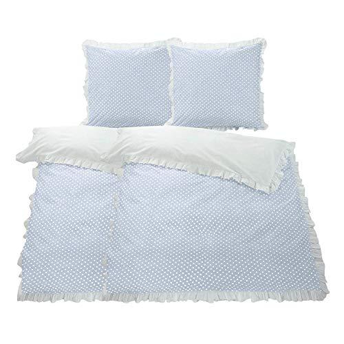 WOMETO 4-TLG Rüschen Bettwäsche Baumwolle Punkte blau 135x200 OekoTex Landhaus Vintage