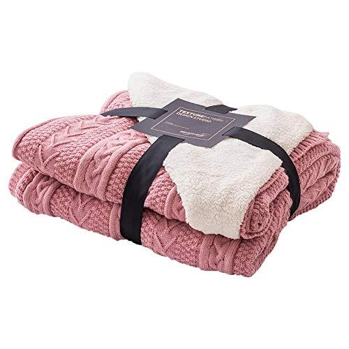 Bouder Übergangs-Überwurf, grob, Zopfmuster, 100 Baumwolle, gemütlich, gedreht, Baumwolle, mittelschwer, für alle Jahreszeiten geeignet 130 * 160cm rose