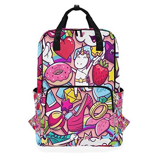 Hunihuni Cartoon Cute Unicorn Multifunktions-Casual Schule Büchertasche Wandern Reisen Daypack Schultertasche