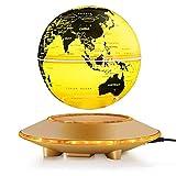 ChenYongPing World Globe 6Inch Floating Globe mit LED-Leuchten Magnetschwebetechnik Floating Globe Weltkarte für Schreibtisch Dekoration (Gold, 6Inch) Schwerkraft pädagogisch