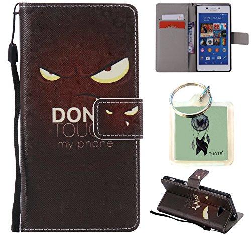 Preisvergleich Produktbild für Sony Xperia M2 PU Wallet Case Schutz Hülle für Sony Xperia M2 - Cover Flip Tasche mit Kartenfach in Buch Stil mit Kartenfach Standfunktion Magnetverschluss und Hand Wrist + Schlüsselanhänger (J13)