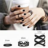 #5: ITS -3PCS Black Punk Stack Plain Above Knuckle Ring Midi Finger Rings Set.
