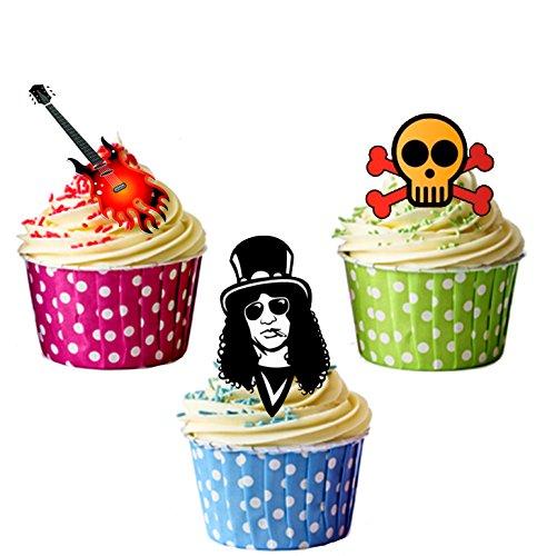 Kuchen-Dekorationen / Cupcake-Aufsetzer, essbar, mit Guns-N-Roses-Design, 12 Stück (Essbare Gun)