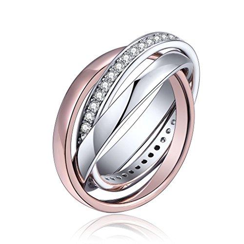 yl bague femme argent 925 anneau triple plaqu rose et or rhodium amour infini trois anneaux. Black Bedroom Furniture Sets. Home Design Ideas