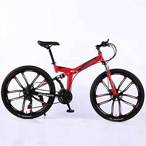 XER Mountainbike 24-Gang Stahl Kohlenstoffstahl 24 Zoll 10-Speichen-Räder Dual Suspension Faltrad für Commuter City,Red,21speed -