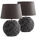 BRUBAKER Lampe de Table, de Chevet - Lot de 2 - Abat-jour Anthracite et Pied de la...