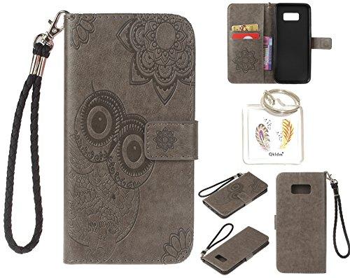 Preisvergleich Produktbild für Samsung Galaxy S8+ S8 Plus PU Leder Silikon Schutzhülle Handy case Book Style Portemonnaie Design für Samsung GalaxyS8+ S8 Plus + Schlüsselanhänger ( RDX (5)