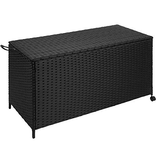 TecTake Rattan Auflagenbox Garten Kissenbox rollbar | wetterfestes Aluminiumgestell | mit...