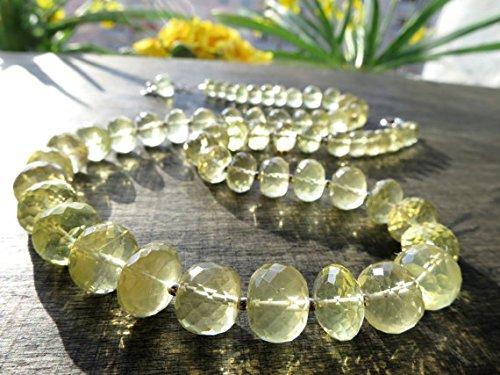 Big Citrin Edelstein Perlen brigth gelb Edelstein Kristall Silber Halskette Silber Geburtsstein April Geburtstag Braut Schmuck Citrin 11mm bis 8mm (Braut-kristall Perle Halskette)