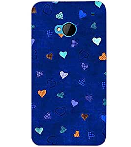 PrintDhaba Heart Pattern D-1471 Back Case Cover for HTC ONE M7 (Multi-Coloured)