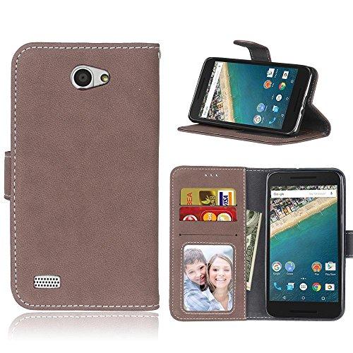 """LG Bello II Hülle,Retro Matte Leder Flip Case im Book-Style [Slim Fit] Brieftasche Handyhülle mit [Kartenfächer und Bargeld] für LG Bello II (LGX150) 5"""" Braun"""