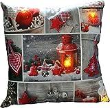 Pötter Heimtextilien GmbH Kissen 40x40cm LED Beleuchtung Weihnachten Dekokissen Wintermotive Fotokissen, Motiv/Art:Laterne