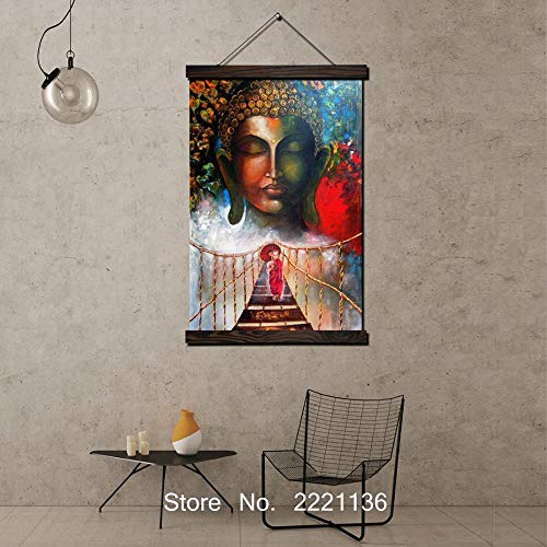 WGXGZ Hängendes Bild Drucken 30X40Cm Buddha Gesicht Und Brücke Rahmen Hd Scroll Gemälde Leinwand Wandbehang Kunst Hd Drucken Bild Für Wohnzimmer Dekoration