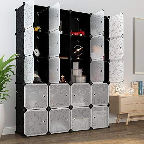 LANGRIA 20-Cube DIY Modular Shelving Storage Organizing Closet with Translucent Doors and Opaque Curly Patterned Cube Design for Clothes, Shoes, Toys and Books (Black and White)