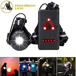 WESTLIGHT Lauflicht, wiederaufladbare USB LED Lauflampe Sport, wasserdicht, leichtgewichtige Lampe zum Laufen, 500 Lumen…