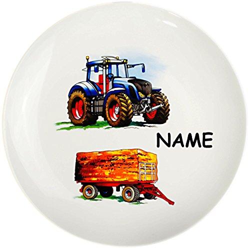 alles-meine.de GmbH großer Teller - Kinderteller -  Traktor - Trecker mit Anhänger - Bauernhof  - inkl. Name - Ø 21 cm - aus Porzellan / Keramik - Speiseteller / Frühstückstell..