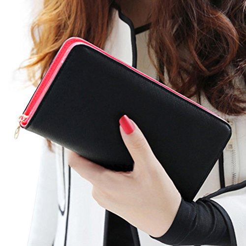 OUTEYE Damen Mädchen Geldbörse Clutches Geldbeutel Portemonnaie Brieftasche PU Leder Wallet Lang Handtasche Party Freizeit