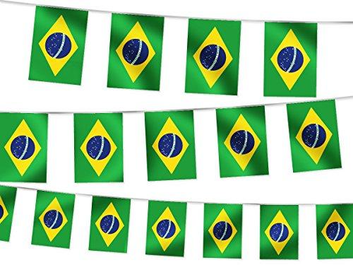 Ghirlanda decorativa bandiera paese 14 x 21 cm decorazione bar ristorante festa estate calcio europei tessuto sintetico impermeabile, :W-BR Brasile 4.50 m