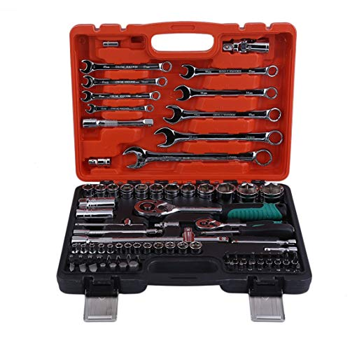 Pgige Outil de réparation de Voiture, 82pcs clés clé Voiture Outils de réparation Outil clé dynamométrique à cliquet Combo Outils Kit Auto réparation Outil à Main Ensemble