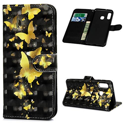 Vogu'SaNa Kompatible für Handyhülle Samsung Galaxy A20e Hülle Wallet Case Cover PU Leder Tasche 3D Muster Flipcase Schutzhülle Handytasche Skin Ständer Klapphülle Schale Bumper Etui-Gold Schmetterling -