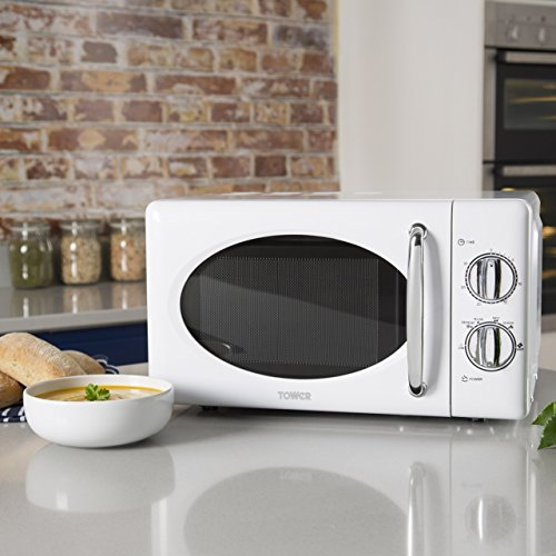 Tower T24017 Manual Solo Microwave with Full Stainless Steel Interior, 800 W, 20 Litre, White