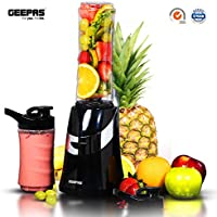 Geepas 350W Personal Blender Smoothie Milkshake Maker - Mini Electric Travel Blender for Protein Shakes with 2 Easy to Clean BPA Free Tritan Sports Bottles & Leak-Proof Lids – 2 Years Warranty