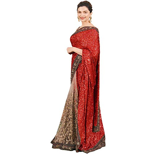 Mannequin Store Georgette Saree (Deepika Red_Multi-Coloured)  available at amazon for Rs.1567