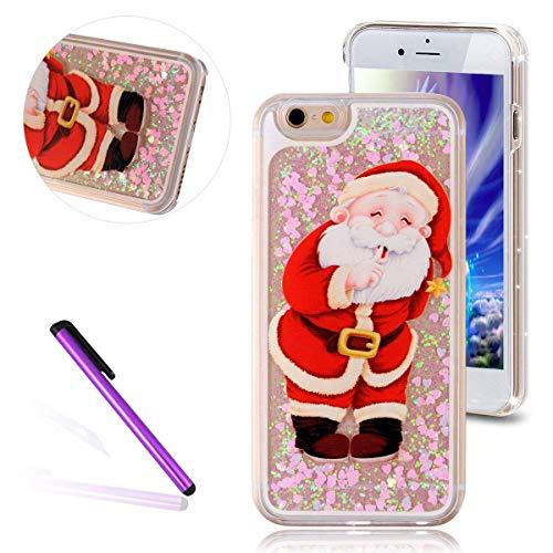 HMTECH iPhone 8 Hülle Glitzer Christmas Santa Claus Rosa Flüssigkeit Fließende Rückschale Liquid Hart PC Plastik Durchsichtige Stoßdämpfung Etui für iPhone 7,Hard Santa Claus -