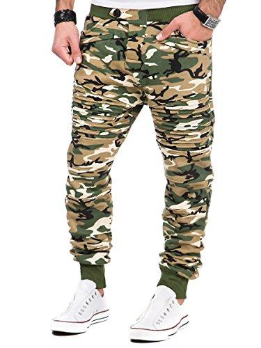 L.A.B 1928 Herren Biker Jogginghose Trainingshose Sporthose Fitness Jogg Hose LAB-7022 Camouflage Beige