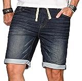 Herren Jogg Jeans Short kurze Hose Bermuda Sommer Sweathose Slim Mix [B218 - Blau - W29]