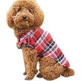 Toraway Lindo Mascotas Ropa Para Perros De La Solapa De La Camisa A Cuadros Hermoso Por Cachorro (XS, Rojo)