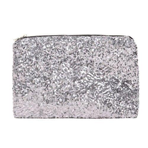 Kupplung Handtasche Paillettes Geldbörse Kreditkarte Pocket Tasche (Silber) (Silber Kupplung Geldbörse)