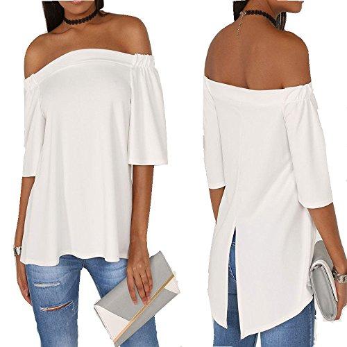ladies-womens-bardot-frill-short-sleeve-swing-top-off-shoulder-look-tops-uk-size-m-l-ivory