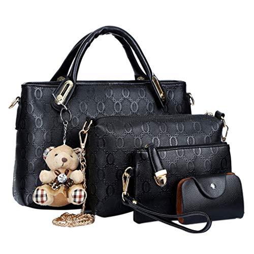 KINTRADE 4PCS / Set Bolso Bandolera de Cuero para Mujer Messenger Bag Wallet Black