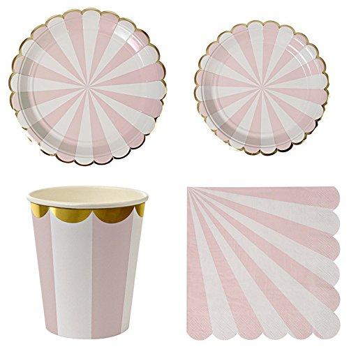 (LianLe Pink Striped Papier Geschirr Teller Tassen Handtücher Geburtstag Hochzeit Party Dekor Supplies)