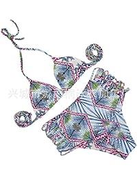 JhyFashion Femme Hot Sexy Elégant Maillots de bain deux pièces Maillot de bain Bikini L'Europe et les États-Unis y joint couleur solide maillot sexy,S