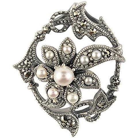 Esse Marcasite–Spilla in argento Sterling con perla di fiume cinese e marcasite, motivo floreale Art Nouveau