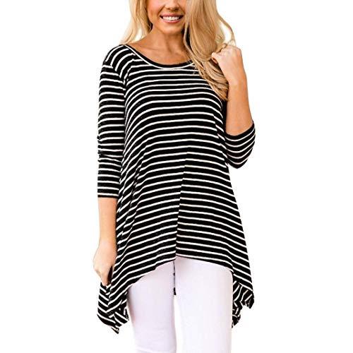 Yazidan T-Shirt Frau Mode Damen klassisch Streifen Outfits Unregelmäßiger Rand Kleider Rundhals...