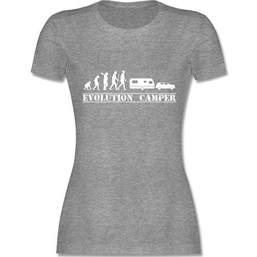 Evolution - Evolution Wohnwagen Weiß - Damen T-Shirt Rundhals Grau Meliert
