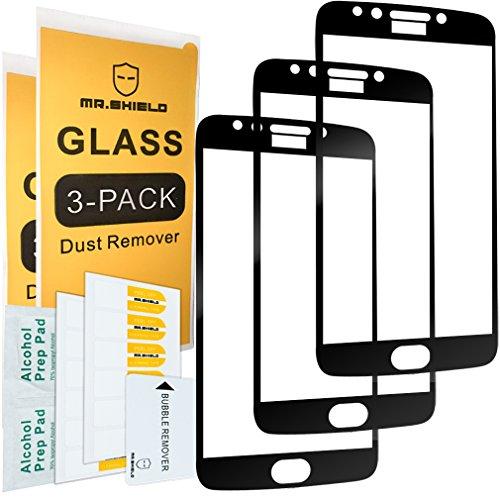 [3-Pack] -mr Schild für Motorola Moto E4Plus/Moto E Plus (4. Generation) [Aussparung für Logo] [Japan gehärtetem Glas] [9H Härte] [Full-Cover] Displayschutzfolie mit Lebenslange Umtausch-Garantie -