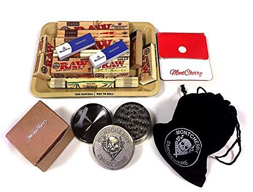 Raw Geschenkset im 70er Mini Metall Rolling Tablett New Deal Geschenk für sie oder Ihre Lieben mit Mont Cherry Silber Bindi/Tattoo Pack Geschenk von Trendz