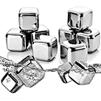 Whiskey Stones Ice Cubes Reusable Stainless Steel,Set of 8 Cooling Cubes for Whiskey Vodka Wine Beer and All Drinks