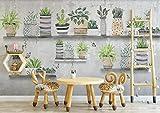 Mur De Ciment Vintage Bonsaï Cactus-400cmx280cm-PapierPeint3D Décoration Murale Maison